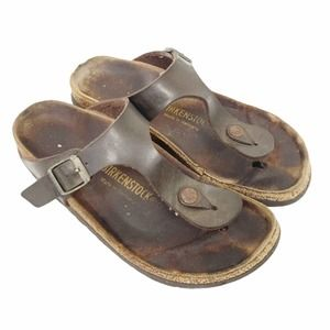 Birkenstock gizeh brown leather thong sandals